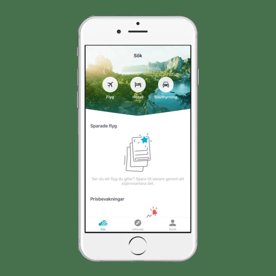 Skyscanners app - flyg, hotell och biluthyrning